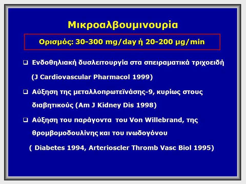 Ορισμοί Μικρολευκωματινουρίας & Λευκωματινουρίας ΠαράμετροςΦ.Τ Mικρολευκω ματινουρία Λευκωματι- νουρία Urine AER (g/min) < 2020 - 200>200 Urine AER (mg/24h) < 30 30 - 300>300 Urine albumin/ Cr # ratio (mg/gm) < 3030 - 300>300 AER=Albumin excretion rate CR # =creatinine