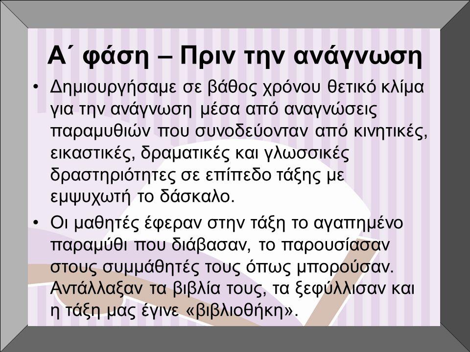 Β΄ φάση – Παρουσίαση βιβλίων •Επιλογή των βιβλίων Προτάθηκαν στα παιδιά εννιά (9) βιβλία για να διαλέξει ένα κάθε ομάδα, τα εξής:  Η Οδοντογλυφίδα που έγινε Ογδοντογλυφίδα, Σοφία Μαντουβάλου, Πατάκης  Ένα αστέρι πέφτει στη γη, Ευδοκία Σκορδαλά- Κακατσάκη, άγκυρα  Τα τρία μικρά λυκάκια, Ευγένιος Τριβιζάς, Μίνωας  Ο πόλεμος των Ούφρων και των Τζούφρων, Ευγένιος Τριβιζάς, Μίνωας  Η σταγόνα της αγάπης, Σοφία Παράσχου,Ελληνικά Γράμματα