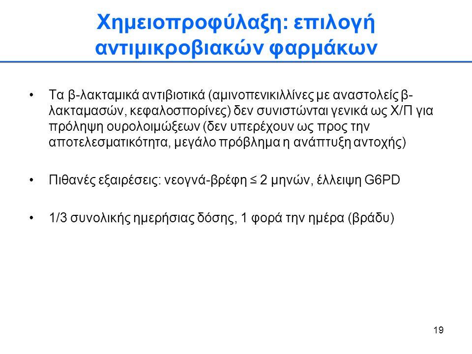 19 Χημειοπροφύλαξη: επιλογή αντιμικροβιακών φαρμάκων •Τα β-λακταμικά αντιβιοτικά (αμινοπενικιλλίνες με αναστολείς β- λακταμασών, κεφαλοσπορίνες) δεν σ