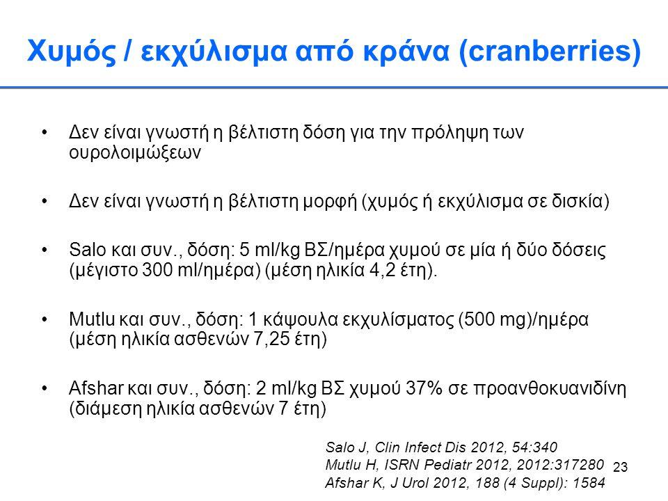 23 Χυμός / εκχύλισμα από κράνα (cranberries) •Δεν είναι γνωστή η βέλτιστη δόση για την πρόληψη των ουρολοιμώξεων •Δεν είναι γνωστή η βέλτιστη μορφή (χ