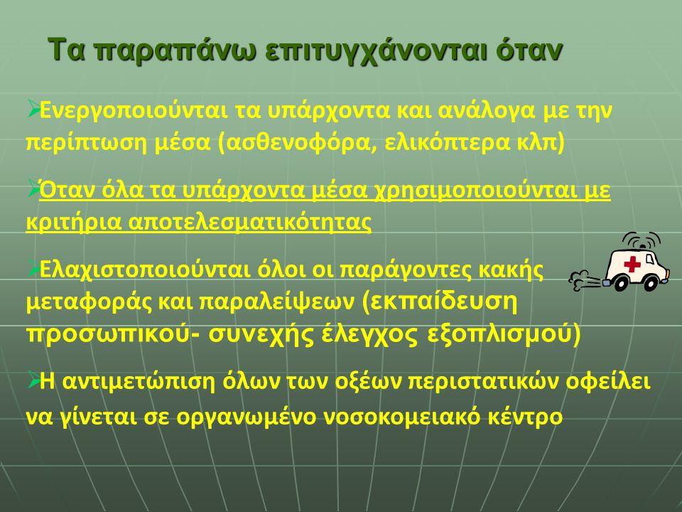 Η προνοσοκομειακή Ιατρική και οι Διακομιδές στην Ελλάδα προσπαθούν να ικανοποιήσουν τις ανάγκες που δημιουργούνται από τρεις κύριες παραμέτρους 1.Θέση
