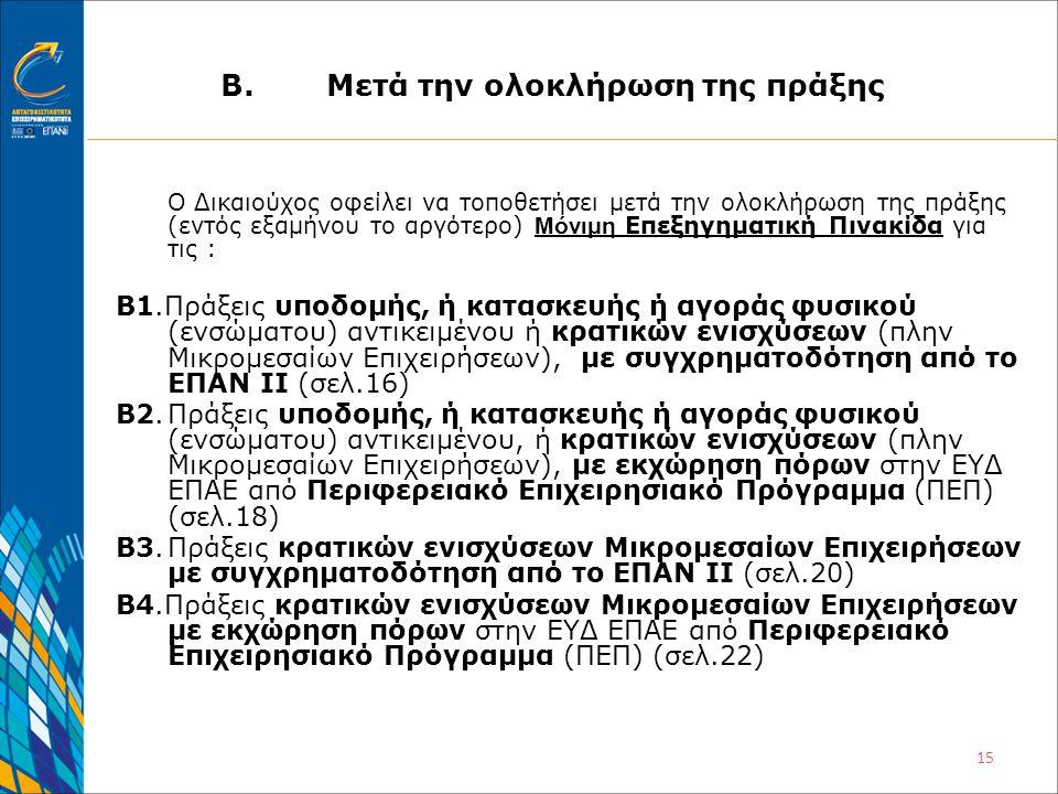15 Β.Μετά την ολοκλήρωση της πράξης Ο Δικαιούχος οφείλει να τοποθετήσει μετά την ολοκλήρωση της πράξης (εντός εξαμήνου το αργότερο) Μόνιμη Επεξηγηματική Πινακίδα για τις : Β1.Πράξεις υποδομής, ή κατασκευής ή αγοράς φυσικού (ενσώματου) αντικειμένου ή κρατικών ενισχύσεων (πλην Μικρομεσαίων Επιχειρήσεων), με συγχρηματοδότηση από το ΕΠΑΝ ΙΙ (σελ.16) Β2.Πράξεις υποδομής, ή κατασκευής ή αγοράς φυσικού (ενσώματου) αντικειμένου, ή κρατικών ενισχύσεων (πλην Μικρομεσαίων Επιχειρήσεων), με εκχώρηση πόρων στην ΕΥΔ ΕΠΑΕ από Περιφερειακό Επιχειρησιακό Πρόγραμμα (ΠΕΠ) (σελ.18) Β3.Πράξεις κρατικών ενισχύσεων Μικρομεσαίων Επιχειρήσεων με συγχρηματοδότηση από το ΕΠΑΝ ΙΙ (σελ.20) Β4.Πράξεις κρατικών ενισχύσεων Μικρομεσαίων Επιχειρήσεων με εκχώρηση πόρων στην ΕΥΔ ΕΠΑΕ από Περιφερειακό Επιχειρησιακό Πρόγραμμα (ΠΕΠ) (σελ.22)