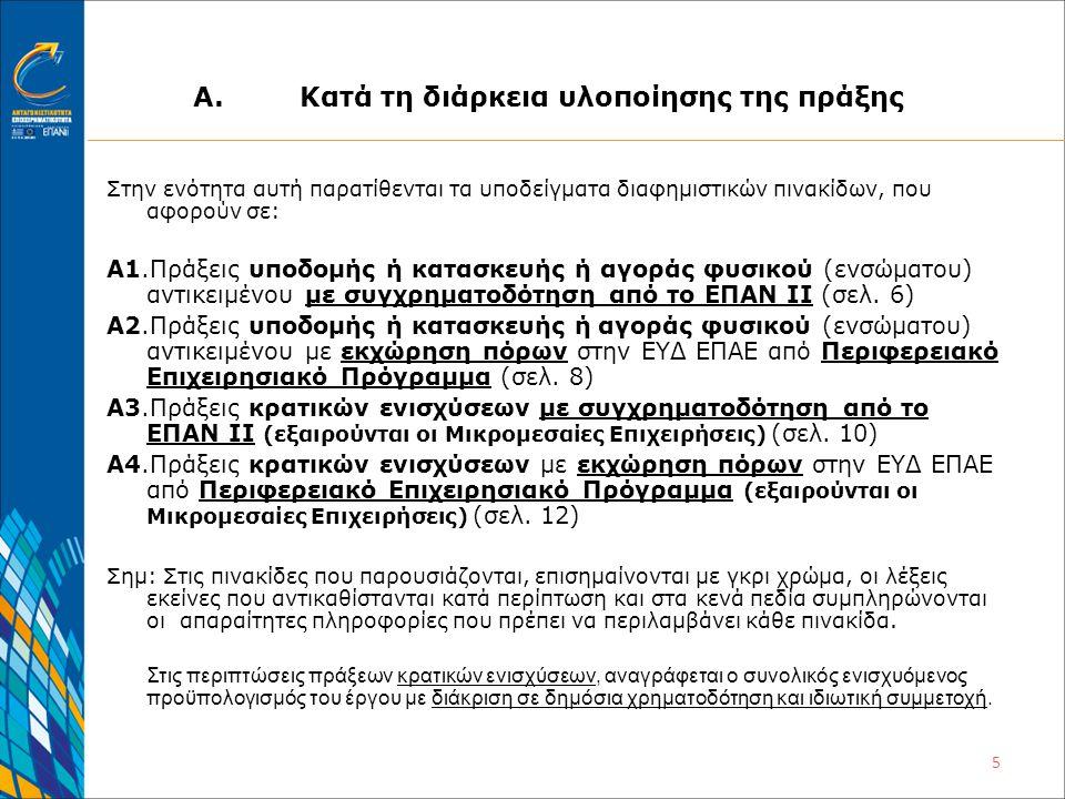 5 Α.Κατά τη διάρκεια υλοποίησης της πράξης Στην ενότητα αυτή παρατίθενται τα υποδείγματα διαφημιστικών πινακίδων, που αφορούν σε: A1.Πράξεις υποδομής ή κατασκευής ή αγοράς φυσικού (ενσώματου) αντικειμένου με συγχρηματοδότηση από το ΕΠΑΝ ΙΙ (σελ.