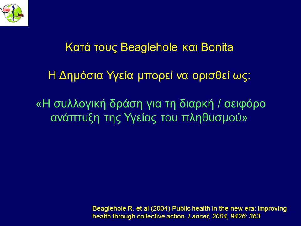 Κατά τους Beaglehole και Bonita Η Δημόσια Υγεία μπορεί να ορισθεί ως: «Η συλλογική δράση για τη διαρκή / αειφόρο ανάπτυξη της Υγείας του πληθυσμού» Beaglehole R.