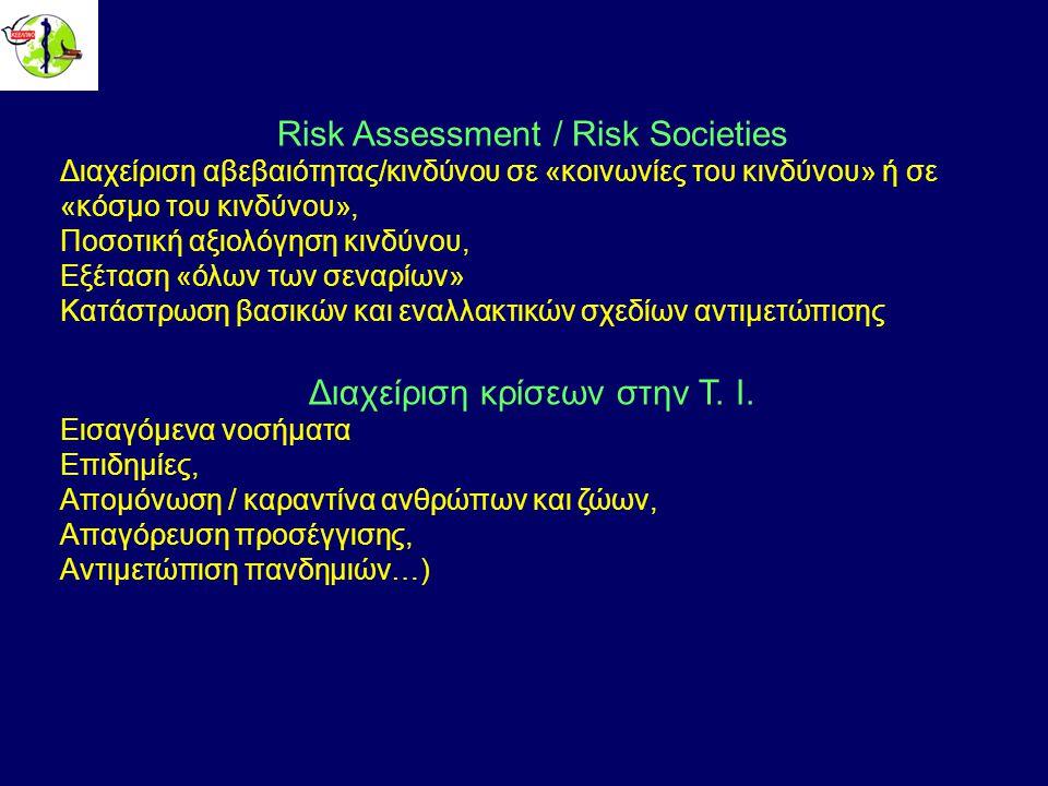 Risk Assessment / Risk Societies Διαχείριση αβεβαιότητας/κινδύνου σε «κοινωνίες του κινδύνου» ή σε «κόσμο του κινδύνου», Ποσοτική αξιολόγηση κινδύνου, Εξέταση «όλων των σεναρίων» Κατάστρωση βασικών και εναλλακτικών σχεδίων αντιμετώπισης Διαχείριση κρίσεων στην Τ.