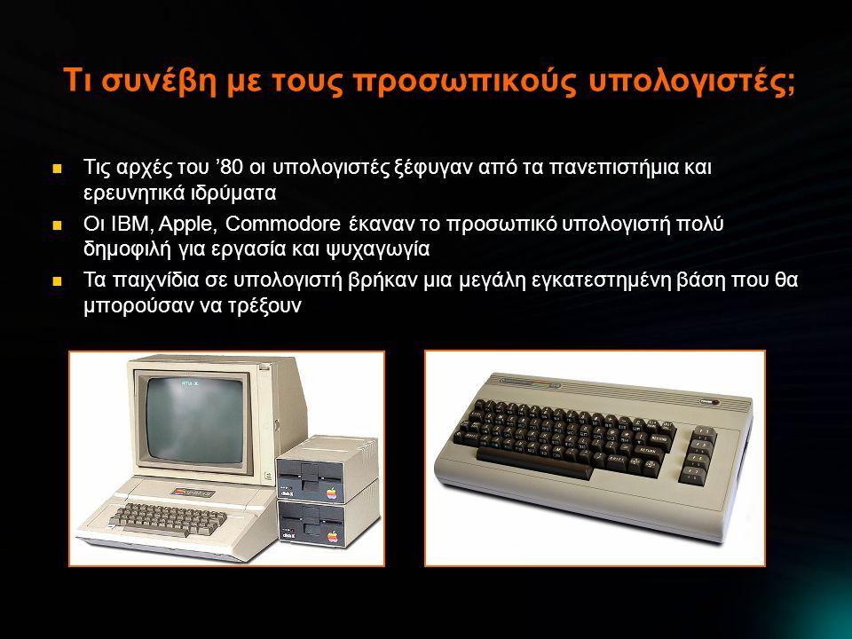 Τι συνέβη με τους προσωπικούς υπολογιστές;  Τις αρχές του '80 οι υπολογιστές ξέφυγαν από τα πανεπιστήμια και ερευνητικά ιδρύματα  Οι IBM, Apple, Commodore έκαναν το προσωπικό υπολογιστή πολύ δημοφιλή για εργασία και ψυχαγωγία  Τα παιχνίδια σε υπολογιστή βρήκαν μια μεγάλη εγκατεστημένη βάση που θα μπορούσαν να τρέξουν