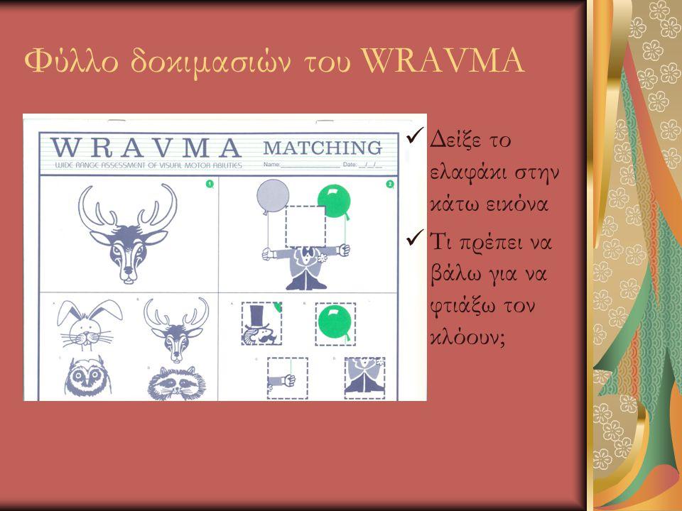Φύλλο δοκιμασιών του WRAVMA  Δείξε το ελαφάκι στην κάτω εικόνα  Τι πρέπει να βάλω για να φτιάξω τον κλόουν;