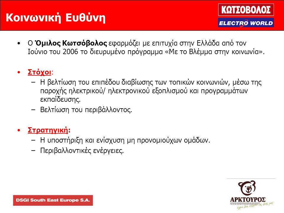 Κοινωνική Ευθύνη •Ο Όμιλος Κωτσόβολος εφαρμόζει με επιτυχία στην Ελλάδα από τον Ιούνιο του 2006 το διευρυμένο πρόγραμμα «Με το Βλέμμα στην κοινωνία».