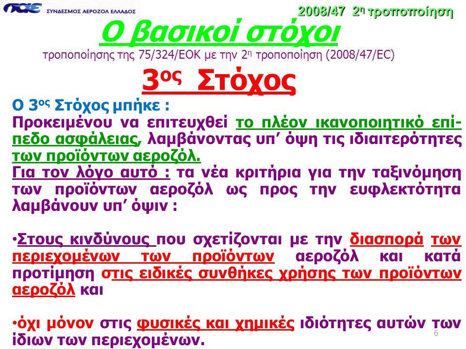 6 Ο βασικοί στόχοι τροποποίησης της 75/324/ΕΟΚ με την 2 η τροποποίηση (2008/47/EC) 3 ος Στόχος 2008/47 2 η τροποποίηση Ο 3 ος Στόχος μπήκε : Προκειμέν