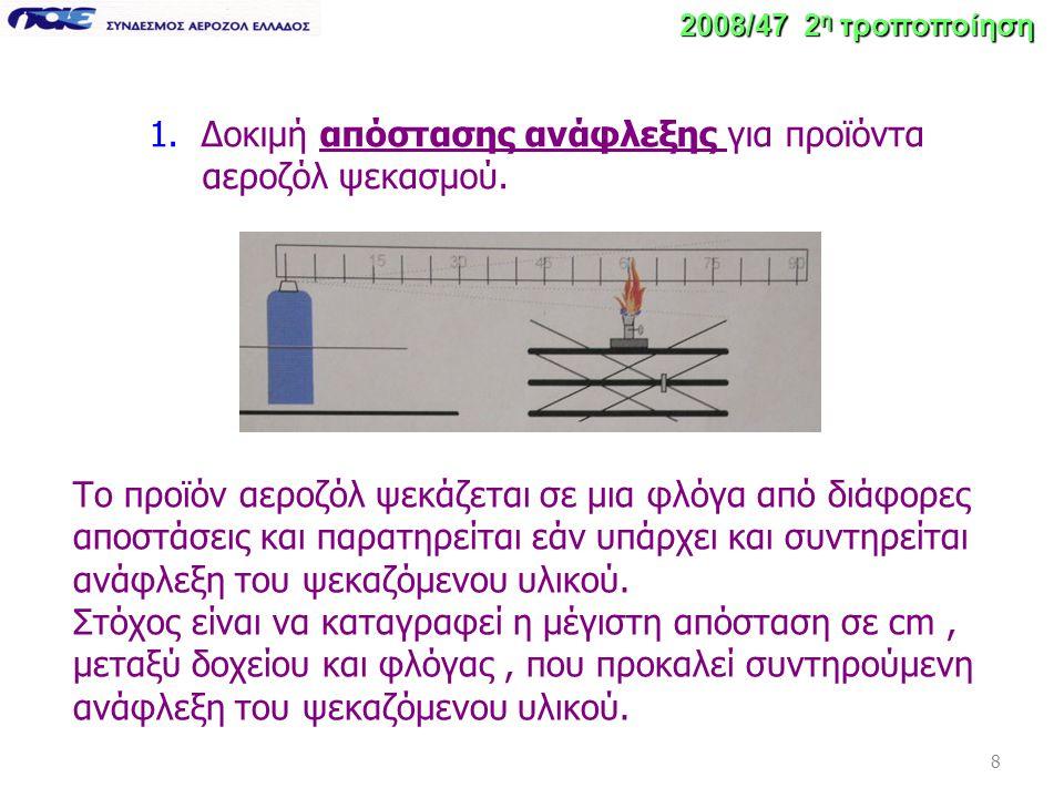 8 1. Δοκιμή απόστασης ανάφλεξης για προϊόντα αεροζόλ ψεκασμού. Το προϊόν αεροζόλ ψεκάζεται σε μια φλόγα από διάφορες αποστάσεις και παρατηρείται εάν υ