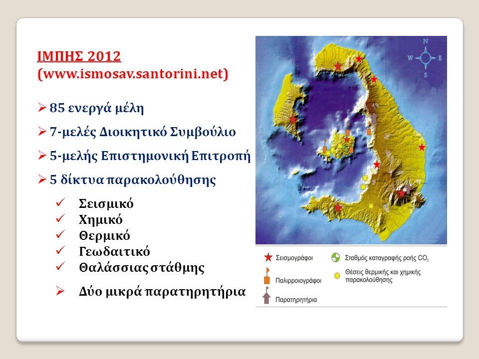 IΜΠΗΣ 2012 (www.ismosav.santorini.net)  85 ενεργά μέλη  7-μελές Διοικητικό Συμβούλιο  5-μελής Επιστημονική Επιτροπή  5 δίκτυα παρακολούθησης  Σει
