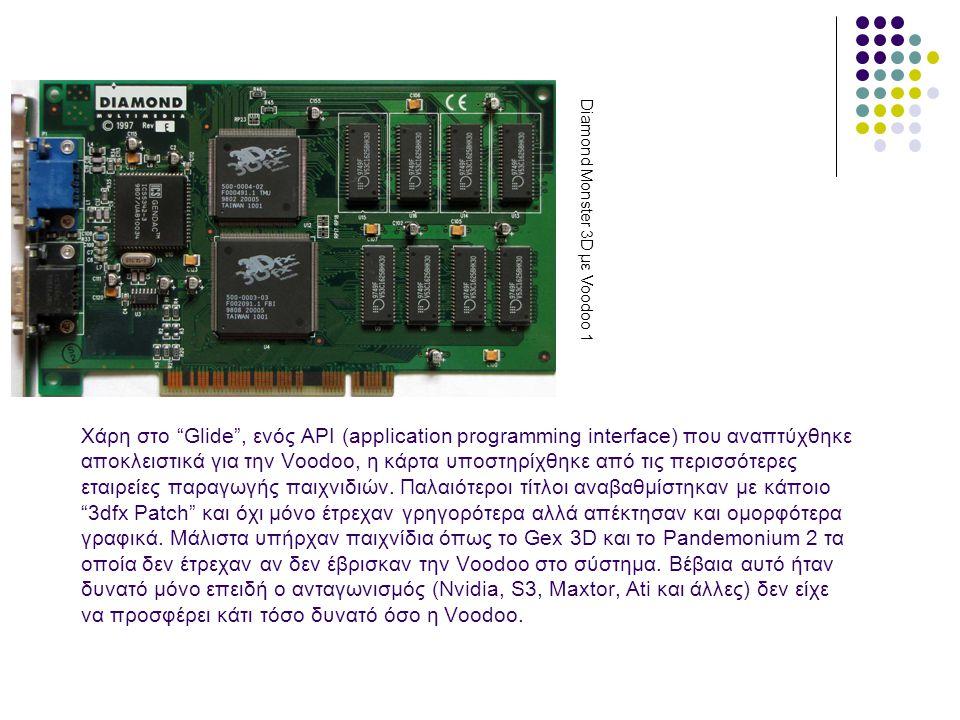 Χάρη στο Glide , ενός API (application programming interface) που αναπτύχθηκε αποκλειστικά για την Voodoo, η κάρτα υποστηρίχθηκε από τις περισσότερες εταιρείες παραγωγής παιχνιδιών.