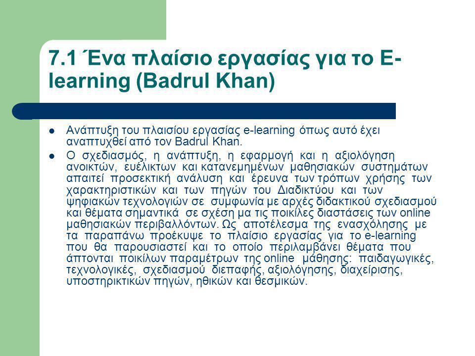 7.1 Ένα πλαίσιο εργασίας για το E- learning (Badrul Khan)  Ανάπτυξη του πλαισίου εργασίας e-learning όπως αυτό έχει αναπτυχθεί από τον Badrul Khan.