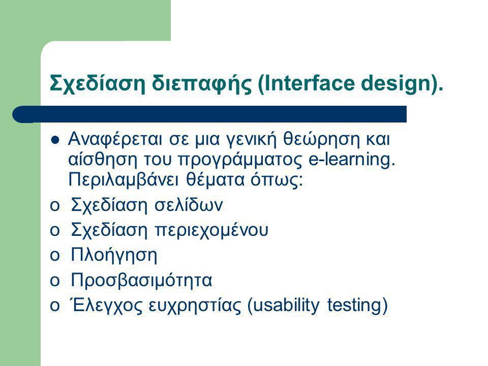 Σχεδίαση διεπαφής (Interface design).