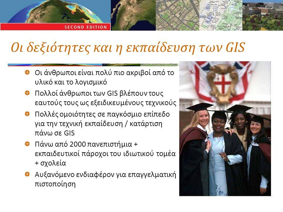 Οι δεξιότητες και η εκπαίδευση των GIS Οι άνθρωποι είναι πολύ πιο ακριβοί από το υλικό και το λογισμικό Πολλοί άνθρωποι των GIS βλέπουν τους εαυτούς τους ως εξειδικευμένους τεχνικούς Πολλές ομοιότητες σε παγκόσμιο επίπεδο για την τεχνική εκπαίδευση / κατάρτιση πάνω σε GIS Πάνω από 2000 πανεπιστήμια + εκπαιδευτικοί πάροχοι του ιδιωτικού τομέα + σχολεία Αυξανόμενο ενδιαφέρον για επαγγελματική πιστοποίηση