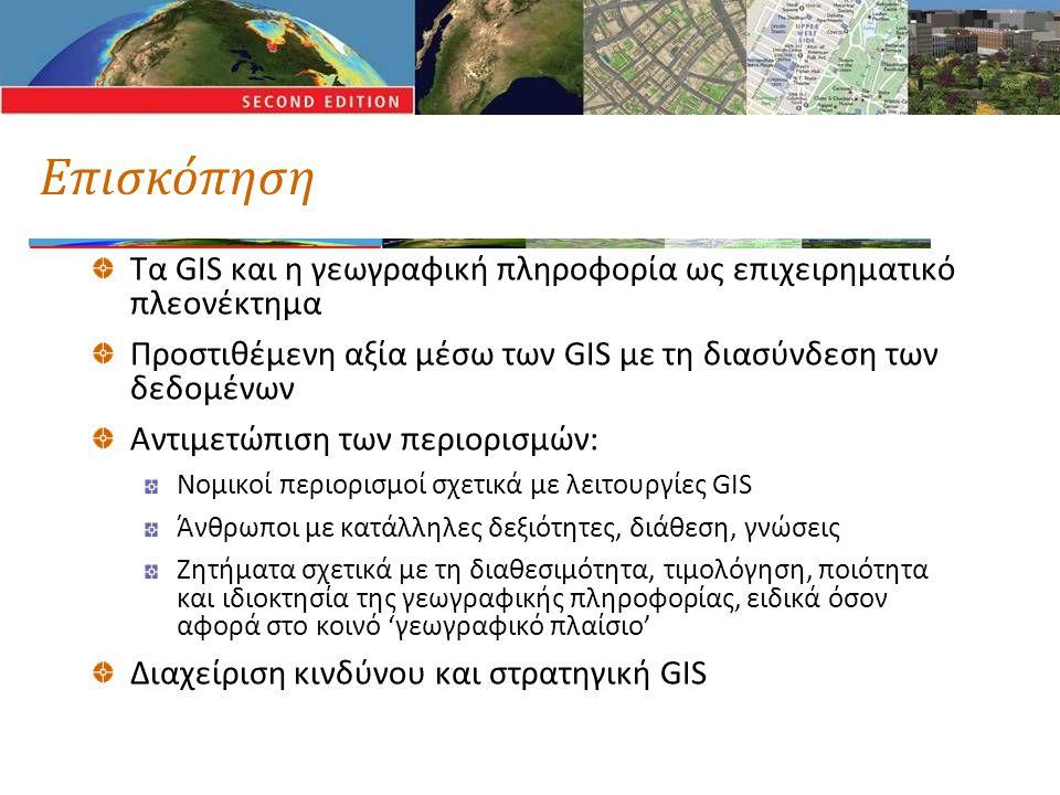 Επισκόπηση Τα GIS και η γεωγραφική πληροφορία ως επιχειρηματικό πλεονέκτημα Προστιθέμενη αξία μέσω των GIS με τη διασύνδεση των δεδομένων Αντιμετώπιση των περιορισμών: Νομικοί περιορισμοί σχετικά με λειτουργίες GIS Άνθρωποι με κατάλληλες δεξιότητες, διάθεση, γνώσεις Ζητήματα σχετικά με τη διαθεσιμότητα, τιμολόγηση, ποιότητα και ιδιοκτησία της γεωγραφικής πληροφορίας, ειδικά όσον αφορά στο κοινό 'γεωγραφικό πλαίσιο' Διαχείριση κινδύνου και στρατηγική GIS