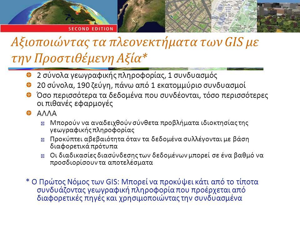 Αξιοποιώντας τα πλεονεκτήματα των GIS με την Προστιθέμενη Αξία* 2 σύνολα γεωγραφικής πληροφορίας, 1 συνδυασμός 20 σύνολα, 190 ζεύγη, πάνω από 1 εκατομμύριο συνδυασμοί Όσο περισσότερα τα δεδομένα που συνδέονται, τόσο περισσότερες οι πιθανές εφαρμογές ΑΛΛΑ Μπορούν να αναδειχθούν σύνθετα προβλήματα ιδιοκτησίας της γεωγραφικής πληροφορίας Προκύπτει αβεβαιότητα όταν τα δεδομένα συλλέγονται με βάση διαφορετικά πρότυπα Οι διαδικασίες διασύνδεσης των δεδομένων μπορεί σε ένα βαθμό να προσδιορίσουν τα αποτελέσματα * Ο Πρώτος Νόμος των GIS: Μπορεί να προκύψει κάτι από το τίποτα συνδυάζοντας γεωγραφική πληροφορία που προέρχεται από διαφορετικές πηγές και χρησιμοποιώντας την συνδυασμένα