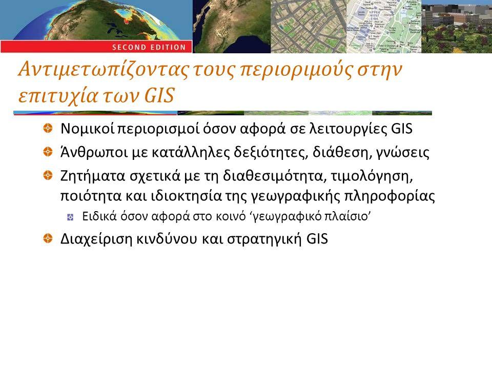 Αντιμετωπίζοντας τους περιοριμούς στην επιτυχία των GIS Νομικοί περιορισμοί όσον αφορά σε λειτουργίες GIS Άνθρωποι με κατάλληλες δεξιότητες, διάθεση, γνώσεις Ζητήματα σχετικά με τη διαθεσιμότητα, τιμολόγηση, ποιότητα και ιδιοκτησία της γεωγραφικής πληροφορίας Ειδικά όσον αφορά στο κοινό 'γεωγραφικό πλαίσιο' Διαχείριση κινδύνου και στρατηγική GIS
