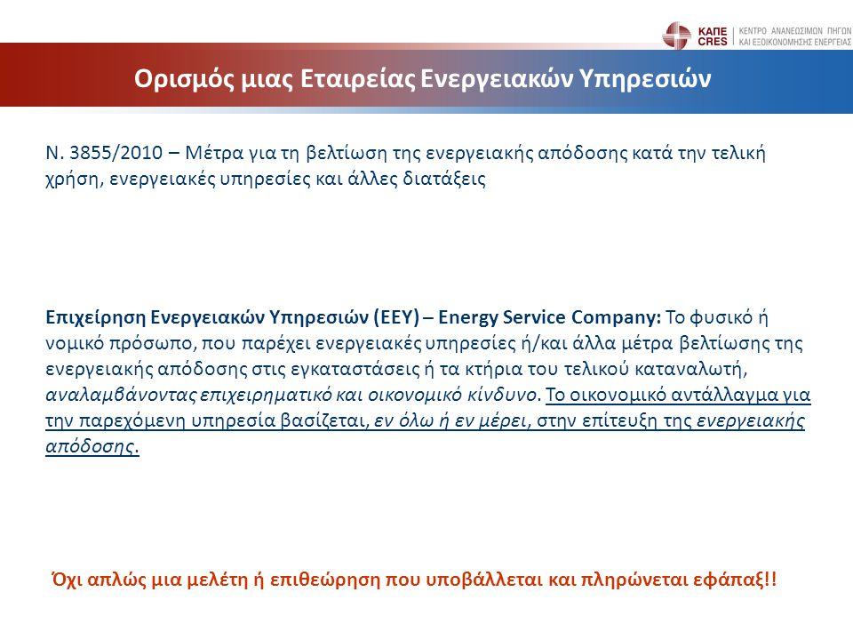Ν. 3855/2010 – Μέτρα για τη βελτίωση της ενεργειακής απόδοσης κατά την τελική χρήση, ενεργειακές υπηρεσίες και άλλες διατάξεις Επιχείρηση Ενεργειακών