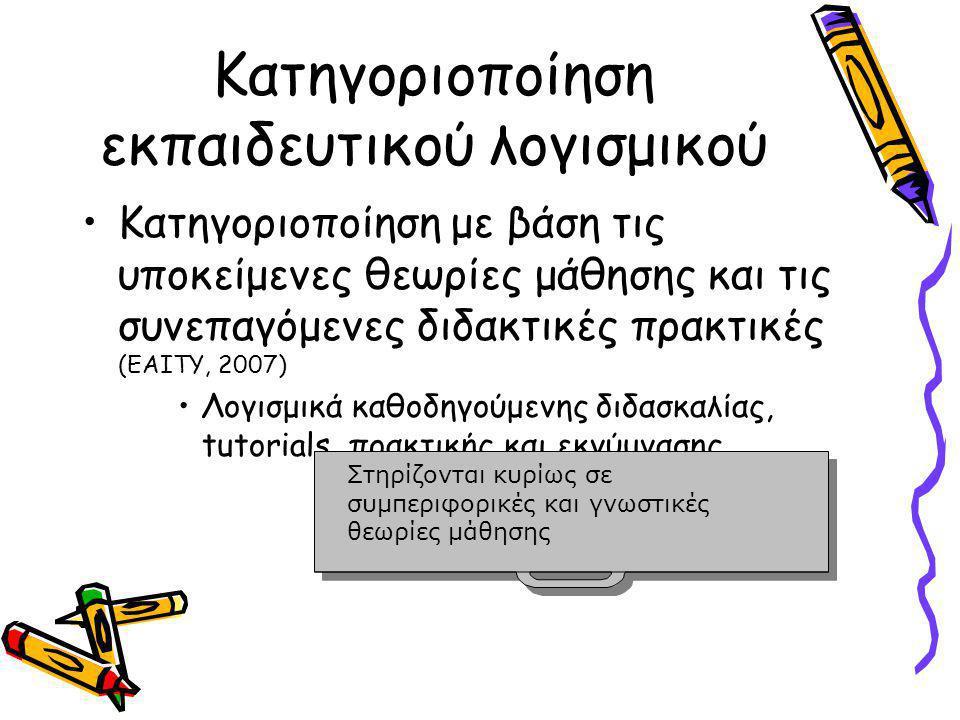 Κατηγοριοποίηση εκπαιδευτικού λογισμικού •Κατηγοριοποίηση με βάση τις υποκείμενες θεωρίες μάθησης και τις συνεπαγόμενες διδακτικές πρακτικές (ΕΑΙΤΥ, 2007) •Λογισμικά καθοδηγούμενης διδασκαλίας, tutorials, πρακτικής και εκγύμνασης Στηρίζονται κυρίως σε συμπεριφορικές και γνωστικές θεωρίες μάθησης Στηρίζονται κυρίως σε συμπεριφορικές και γνωστικές θεωρίες μάθησης