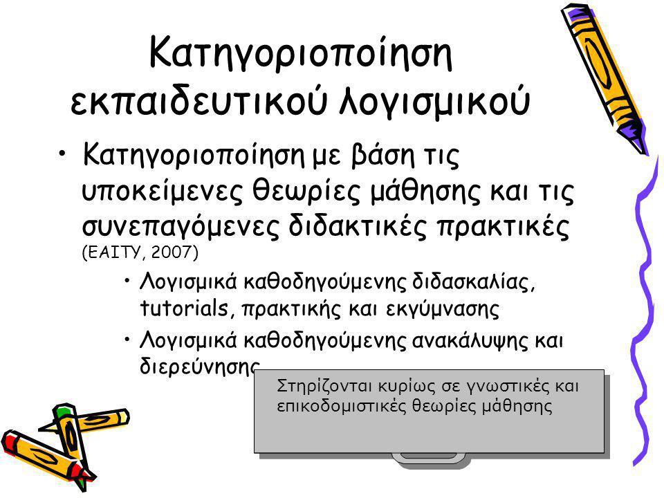 Κατηγοριοποίηση εκπαιδευτικού λογισμικού •Κατηγοριοποίηση με βάση τις υποκείμενες θεωρίες μάθησης και τις συνεπαγόμενες διδακτικές πρακτικές (ΕΑΙΤΥ, 2007) •Λογισμικά καθοδηγούμενης διδασκαλίας, tutorials, πρακτικής και εκγύμνασης •Λογισμικά καθοδηγούμενης ανακάλυψης και διερεύνησης Στηρίζονται κυρίως σε γνωστικές και επικοδομιστικές θεωρίες μάθησης Στηρίζονται κυρίως σε γνωστικές και επικοδομιστικές θεωρίες μάθησης