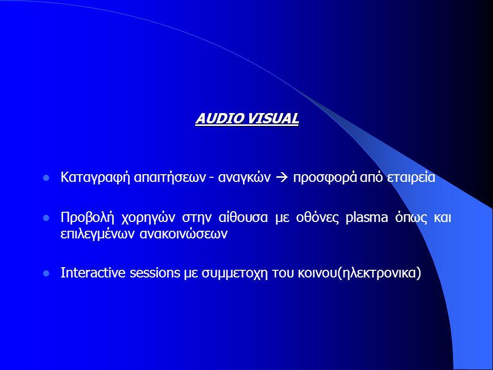 AUDIO VISUAL  Καταγραφή απαιτήσεων - αναγκών  προσφορά από εταιρεία  Προβολή χορηγών στην αίθουσα με οθόνες plasma όπως και επιλεγμένων ανακοινώσεων  Interactive sessions με συμμετοχη του κοινου(ηλεκτρονικα)