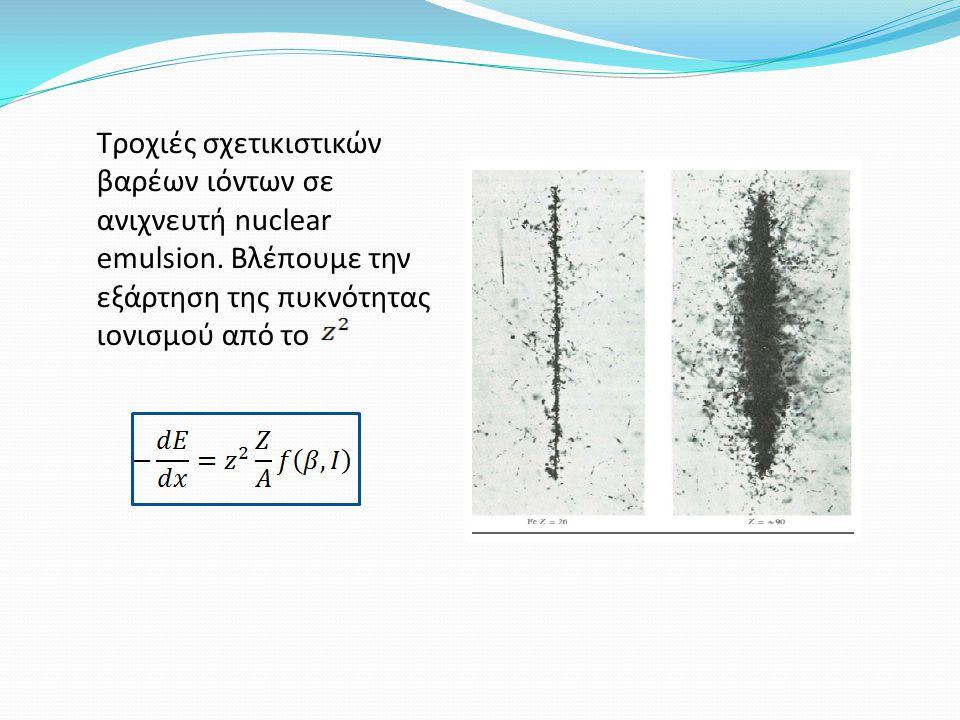 Τροχιές σχετικιστικών βαρέων ιόντων σε ανιχνευτή nuclear emulsion. Βλέπουμε την εξάρτηση της πυκνότητας ιονισμού από το