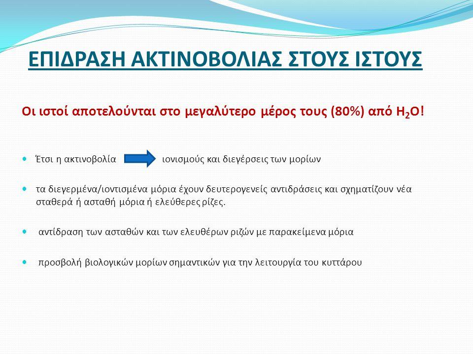 ΕΠΙΔΡΑΣΗ ΑΚΤΙΝΟΒΟΛΙΑΣ ΣΤΟΥΣ ΙΣΤΟΥΣ Οι ιστοί αποτελούνται στο μεγαλύτερο μέρος τους (80%) από H 2 O!  Έτσι η ακτινοβολία ιονισμούς και διεγέρσεις των