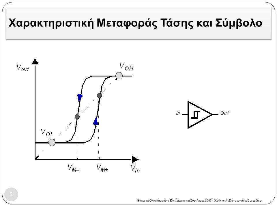 Ψηφιακά Ολοκληρωμένα Κυκλώματα και Συστήματα 2008 – Καθηγητής Κωνσταντίνος Ευσταθίου Ταλαντωτής δακτυλίου  Ταλαντωτής δακτυλίου (Ring Oscillator)  Σχηματίζεται με την δακτυλιοειδή σύνδεση περιττού αριθμού αντιστροφέων (η έξοδος του ενός οδηγεί την είσοδο του επόμενου)  Χρήσιμο και για τη μέτρηση του μέσου χρόνου καθυστέρησης μετάδοσης μιας λογικής πύλης 26