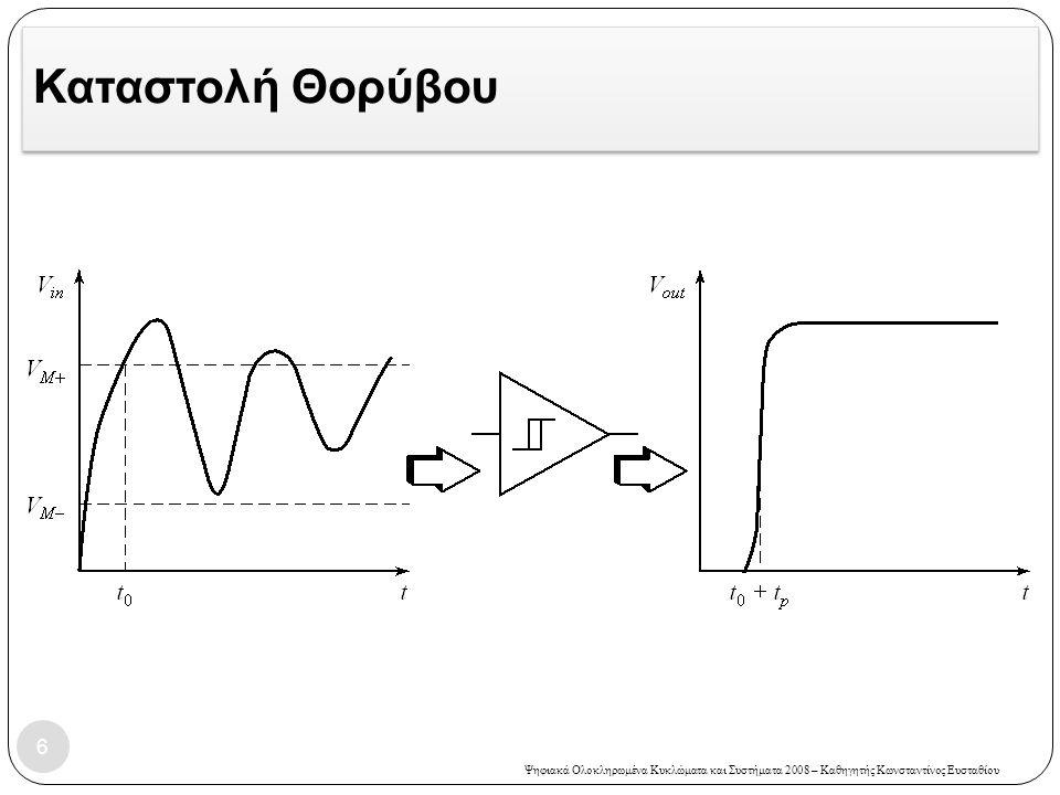 Ψηφιακά Ολοκληρωμένα Κυκλώματα και Συστήματα 2008 – Καθηγητής Κωνσταντίνος Ευσταθίου Άσκηση 5 – Λύση 37  Το Μ6 θα συμπεριφέρεται σαν πηγή ρεύματος όσο η τάση V DS >(V GS -V TE ) V DS >2V ή αλλιώς όσο η τάση στο δεξί άκρο του πυκνωτή είναι μικρότερη από 3V.