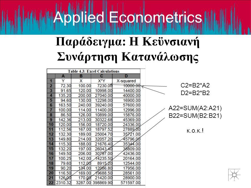 Applied Econometrics Παράδειγμα: Η Κεϋνσιανή Συνάρτηση Κατανάλωσης C2=B2*A2 D2=B2*B2 A22=SUM(A2:A21) B22=SUM(B2:B21) κ.ο.κ.!