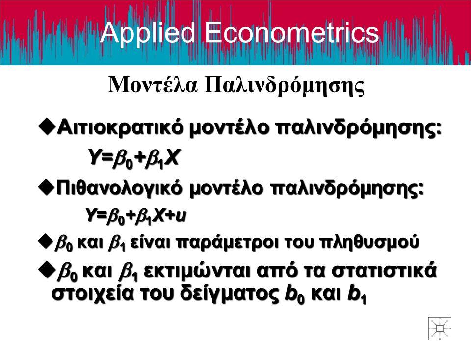 Applied Econometrics Μοντέλα Παλινδρόμησης uΑιτιοκρατικό μοντέλο παλινδρόμησης: Y=  0 +  1 X uΠιθανολογικό μοντέλο παλινδρόμησης : Y=  0 +  1 X+u u  0 και  1 είναι παράμετροι του πληθυσμού u  0 και  1 εκτιμώνται από τα στατιστικά στοιχεία του δείγματος b 0 και b 1