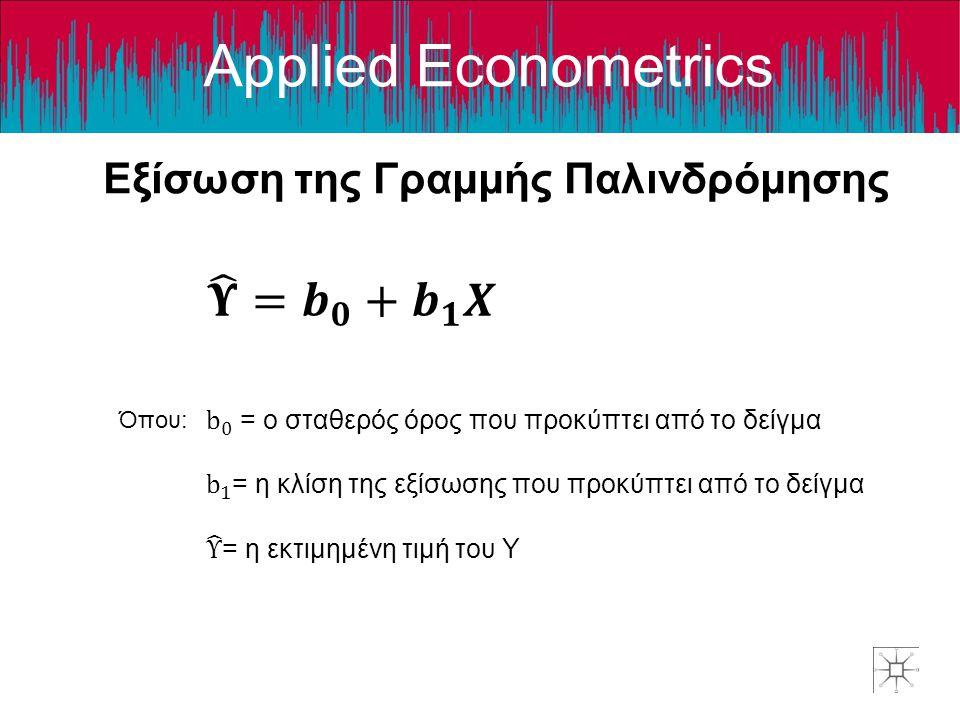 Applied Econometrics Εξίσωση της Γραμμής Παλινδρόμησης Όπου: