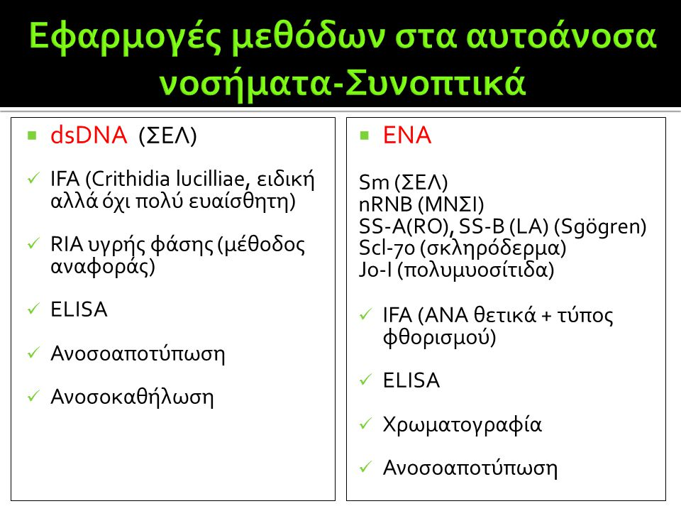  dsDNA (ΣΕΛ)  IFA (Crithidia lucilliae, ειδική αλλά όχι πολύ ευαίσθητη)  RIA υγρής φάσης (μέθοδος αναφοράς)  ELISA  Ανοσοαποτύπωση  Ανοσοκαθήλωσ