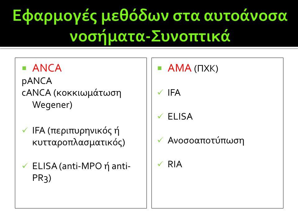  ANCA pANCA cANCA (κοκκιωμάτωση Wegener)  IFA (περιπυρηνικός ή κυτταροπλασματικός)  ΕLISA (anti-MPO ή anti- PR3)  AMA (ΠΧΚ)  IFA  ELISA  Ανοσοα