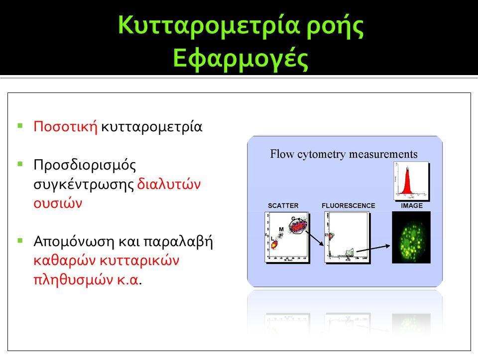  Ποσοτική κυτταρομετρία  Προσδιορισμός συγκέντρωσης διαλυτών ουσιών  Απομόνωση και παραλαβή καθαρών κυτταρικών πληθυσμών κ.α.