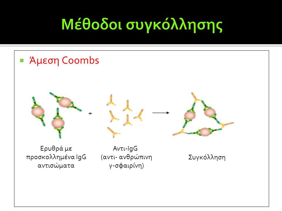  Άμεση Coombs Ερυθρά με προσκολλημένα IgG αντισώματα Αντι-IgG (αντι- ανθρώπινη γ-σφαιρίνη) Συγκόλληση