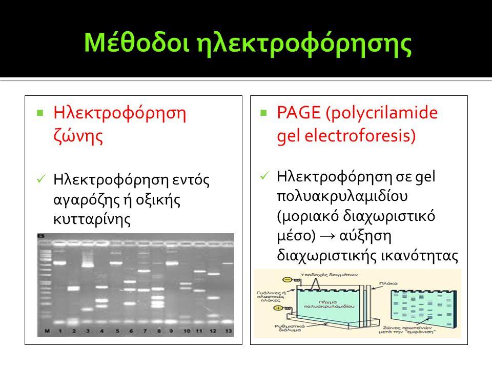  Ηλεκτροφόρηση ζώνης  Ηλεκτροφόρηση εντός αγαρόζης ή οξικής κυτταρίνης  PAGE (polycrilamide gel electroforesis)  Ηλεκτροφόρηση σε gel πολυακρυλαμι