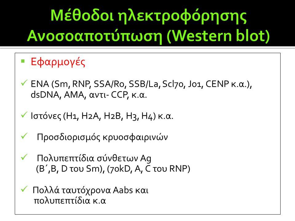  Εφαρμογές  ENA (Sm, RNP, SSA/Ro, SSB/La, Scl70, Jo1, CENP κ.α.), dsDNA, AMA, αντι- CCP, κ.α.  Ιστόνες (Η1, Η2Α, Η2Β, Η3, Η4) κ.α.  Προσδιορισμός