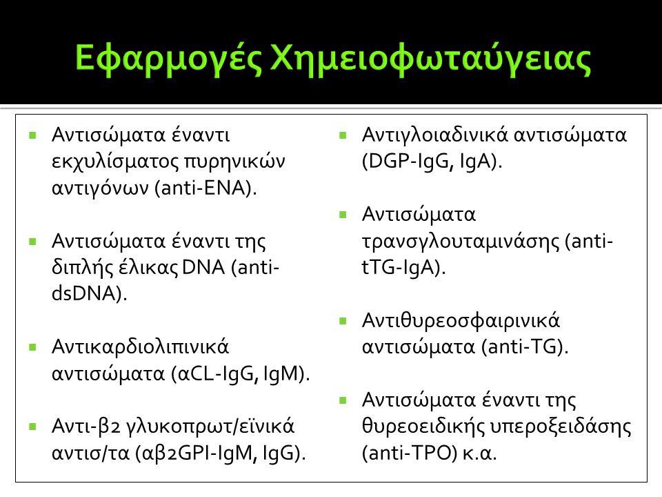  Αντισώματα έναντι εκχυλίσματος πυρηνικών αντιγόνων (anti-ENA).  Αντισώματα έναντι της διπλής έλικας DNA (anti- dsDNA).  Αντικαρδιολιπινικά αντισώμ