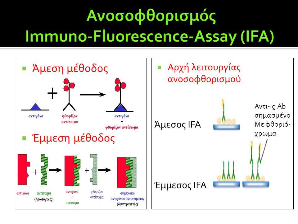  Άμεση μέθοδος  Έμμεση μέθοδος  Αρχή λειτουργίας ανοσοφθορισμού Άμεσος IFA Έμμεσος IFA Αντι-Ig Ab σημασμένο Με φθοριό- χρωμα