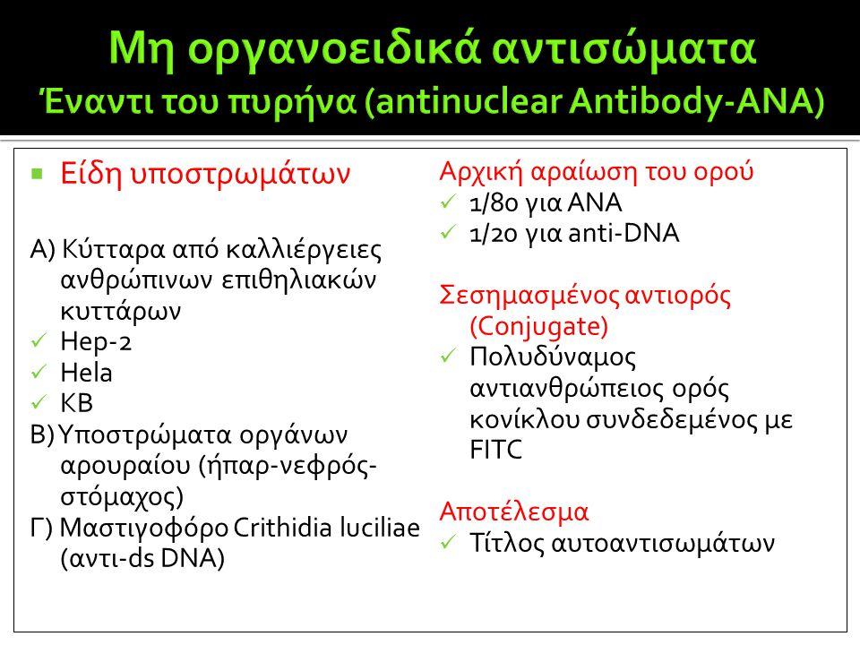  Είδη υποστρωμάτων Α) Κύτταρα από καλλιέργειες ανθρώπινων επιθηλιακών κυττάρων  Hep-2  Hela  KB Β) Yποστρώματα οργάνων αρουραίου (ήπαρ-νεφρός- στό
