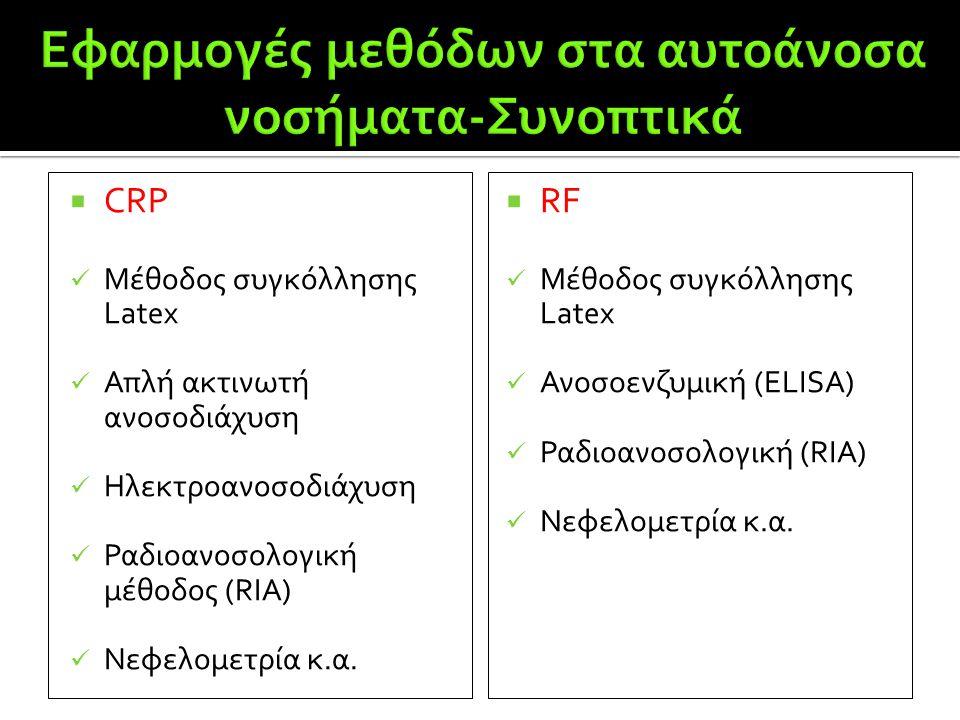  CRP  Μέθοδος συγκόλλησης Latex  Απλή ακτινωτή ανοσοδιάχυση  Ηλεκτροανοσοδιάχυση  Ραδιοανοσολογική μέθοδος (RIA)  Νεφελομετρία κ.α.  RF  Μέθοδ