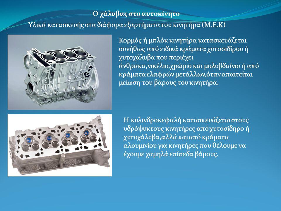 Ο χάλυβας στο αυτοκίνητο Υλικά κατασκευής στα διάφορα εξαρτήματα του κινητήρα (Μ.Ε.Κ) Κορμός ή μπλόκ κινητήρα κατασκευάζεται συνήθως από ειδικά κράματα χυτοσιδίρου ή χυτοχάλυβα που περιέχει άνθρακα,νικέλιο,χρώμιο και μολυβδαίνιο ή από κράματα ελαφρών μετάλλων,όταν απαιτείται μείωση του βάρους του κινητήρα.