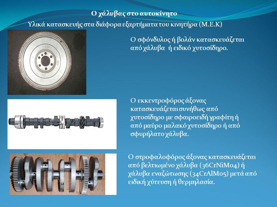 Ο χάλυβας στο αυτοκίνητο Υλικά κατασκευής στα διάφορα εξαρτήματα του κινητήρα (Μ.Ε.Κ) Ο σφόνδυλος ή βολάν κατασκευάζεται από χάλυβα ή ειδικό χυτοσίδηρο.