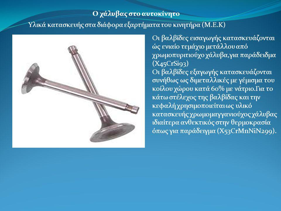 Ο χάλυβας στο αυτοκίνητο Υλικά κατασκευής στα διάφορα εξαρτήματα του κινητήρα (Μ.Ε.Κ) Οι βαλβίδες εισαγωγής κατασκευάζονται ώς ενιαίο τεμάχιο μετάλλου από χρωμοπυριτιούχο χάλυβα,για παράδειδμα (Χ45CrSi93) Οι βαλβίδες εξαγωγής κατασκευάζονται συνήθως ως διμεταλλικές με γέμισμα του κοίλου χώρου κατά 60% με νάτριο.Για το κάτω στέλεχος της βαλβίδας και την κεφαλή χρησιμοποιείται ως υλικό κατασκευής χρωμομαγγανιούχος χάλυβας ιδιαίτερα ανθεκτικός στην θερμοκρασία όπως για παράδειγμα (Χ53CrMnNiN299).