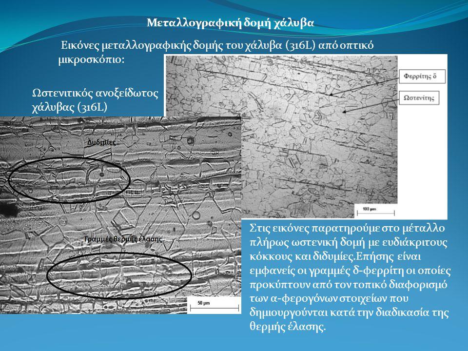 Μεταλλογραφική δομή χάλυβα Εικόνες μεταλλογραφικής δομής του χάλυβα (316L) από οπτικό μικροσκόπιο: Ωστενιτικός ανοξείδωτος χάλυβας (316L) Στις εικόνες παρατηρούμε στο μέταλλο πλήρως ωστενική δομή με ευδιάκριτους κόκκους και διδυμίες.Επήσης είναι εμφανείς οι γραμμές δ-φερρίτη οι οποίες προκύπτουν από τον τοπικό διαφορισμό των α-φερογόνων στοιχείων που δημιουργούνται κατά την διαδικασία της θερμής έλασης.