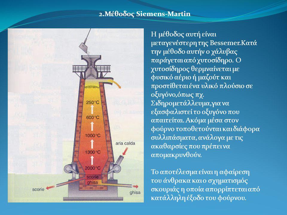 2.Μέθοδος Siemens-Martin Η μέθοδος αυτή είναι μεταγενέστερη της Bessemer.Κατά την μέθοδο αυτήν ο χάλυβας παράγεται από χυτοσίδηρο.
