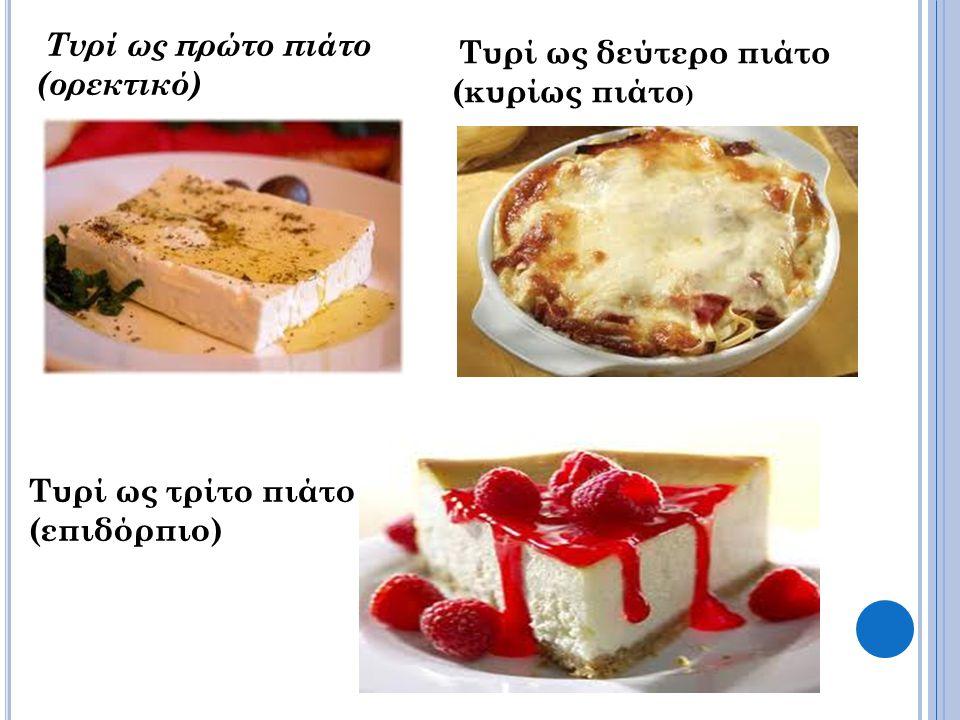 Τυρί ως πρώτο πιάτο (ορεκτικό) Τυρί ως δεύτερο πιάτο (κυρίως πιάτο ) Τυρί ως τρίτο πιάτο (επιδόρπιο)
