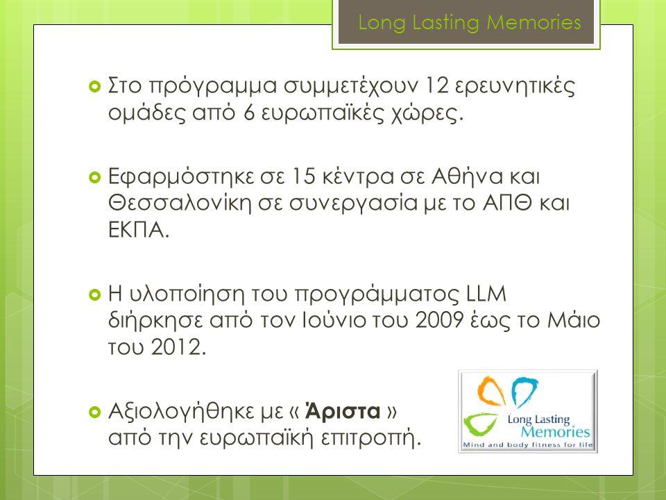 Long Lasting Memories  Στο πρόγραμμα συμμετέχουν 12 ερευνητικές ομάδες από 6 ευρωπαϊκές χώρες.